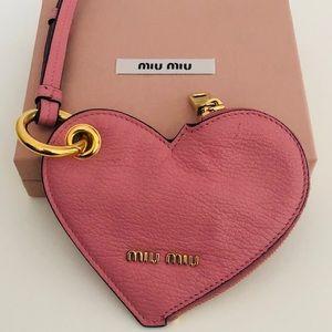 Miu Miu heart leather keychain